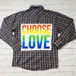 CHOOSE LOVE Custom Vintage Western Flannel Shirt